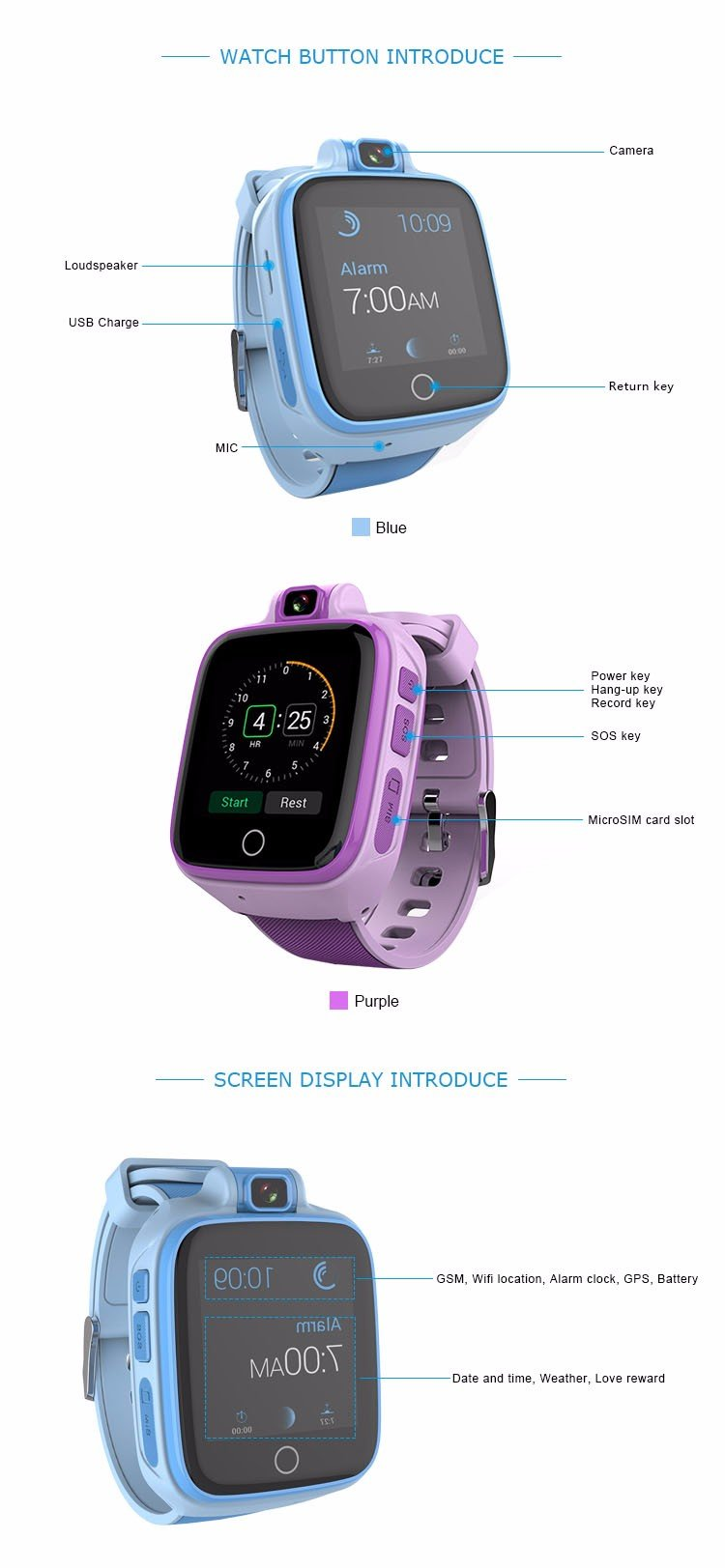 Kids Gps Tracker Watch 4g Sos Emergency Call With Video