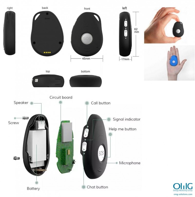 iCare 3.0 – OMG GPS Tracking Keychain Pendant for Dementia Elderly - Size & View