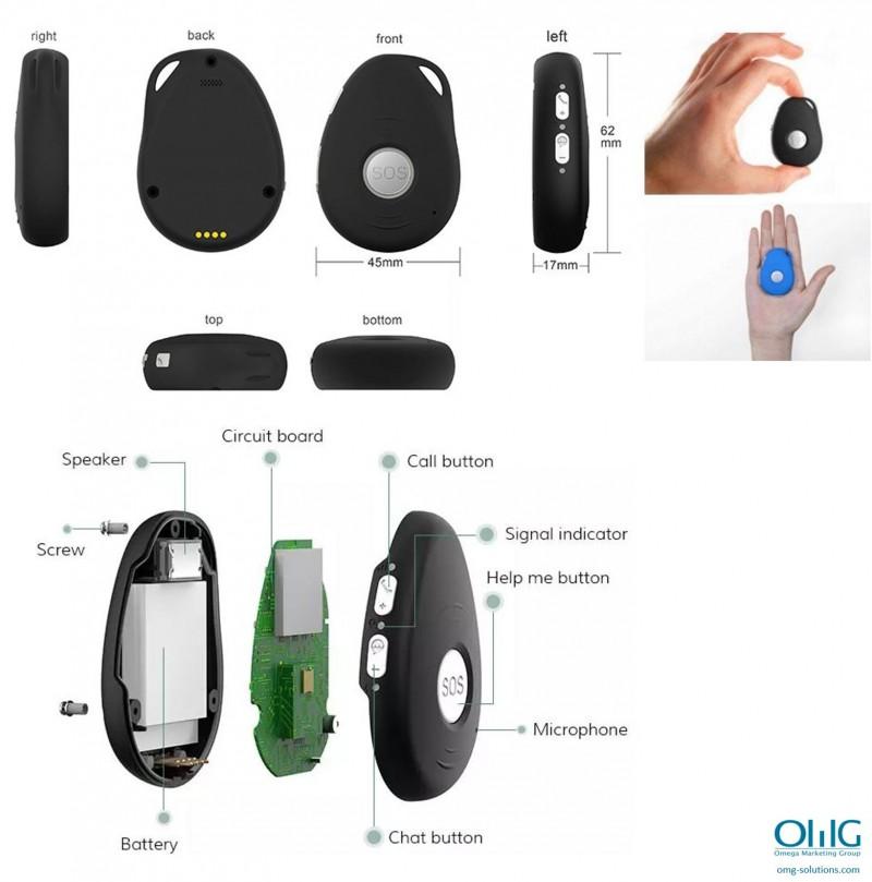 iCare 3.0 - Penjoll de clauer de seguiment GPS OMG per a persones grans amb demència - Mida i visió