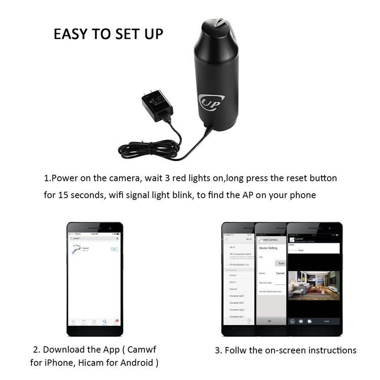 720P पोर्टेबल लपलेले वायरलेस कप कॅमेरा - 3