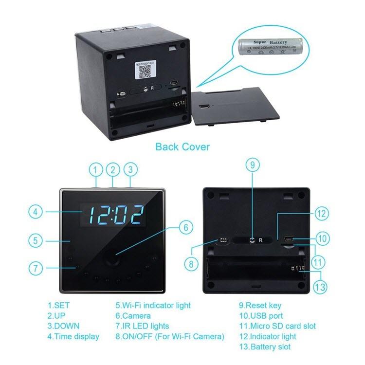 I-HD 1080P Clock Ikhamera efihliweyo (iCube WiFi) - i-3