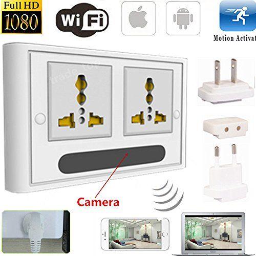 Mini 1080P WIFI HD SPY DVR Piilotettu IP-kamera Real Wall Socket Video Recorder Cam - 1