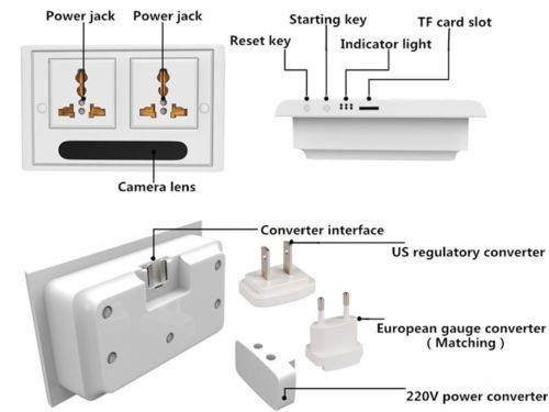 Mini 1080P WIFI HD SPY DVR Hidden IP Camera Real Wall Socket Video Recorder Cam - 2