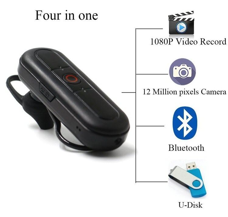 Ceamara Video Hidden Headset Bluetooth Hidden, Cárta TF Max 32G, Obair Battery 80min - 8