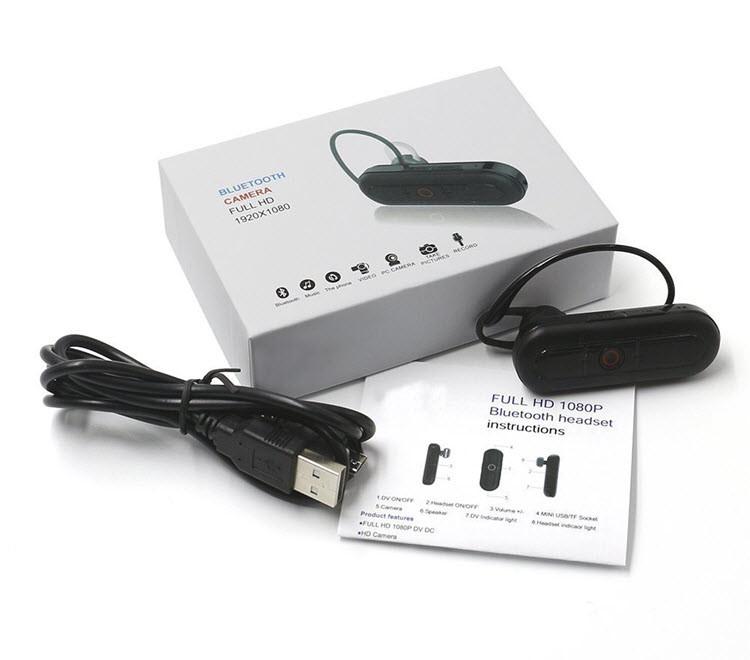 Ceamara Video Hidden Headset Bluetooth Hidden, Cárta TF Max 32G, Obair Battery 80min - 9