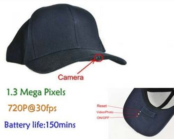 SPY Hat Camera DVR, 1.3 Mega Pixels, H.264, Max SD 32G, Long Life Life 150min - 1