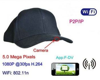 SPY055 - WIFI Hat Camera Video Recorder, 1080p, 5.0 Mega Pixels, H.264, P2PIP - 1