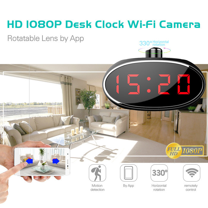 SPY061 - Wifi Alarm Clock Hidden Camera 330 degree Rotatable Lens for Home - 1
