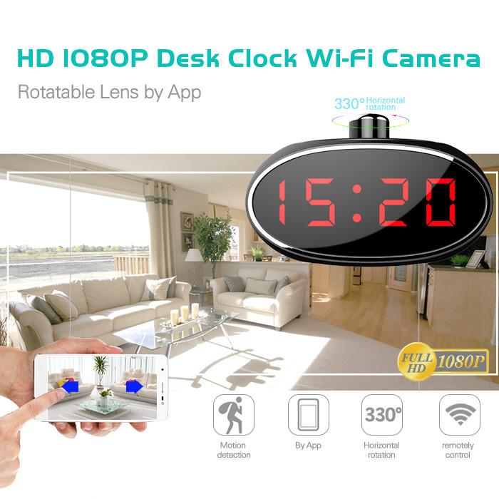 SPY061 - Wifi-herätyskello Piilotettu kamera 330 -asteinen käännettävä objektiivi kotiin - 1