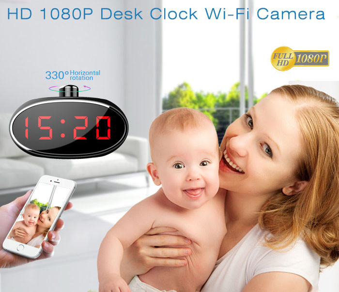SPY061 - Wifi Alarm Clock Hidden Camera 330 degree Rotatable Lens for Home - 3