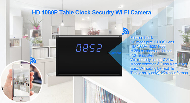 WIFI HD 1080P Table Clock Security Camera, Support SD Card 128GB - 1