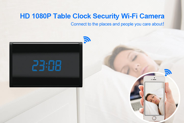 WIFI HD 1080P Table Clock Security Camera, Support SD Card 128GB - 4