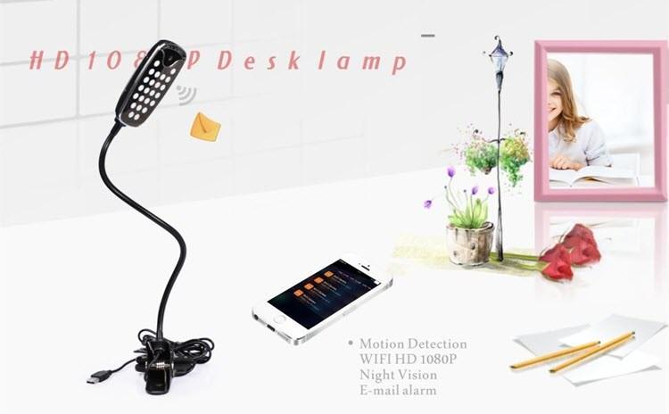 وائی فائی ایچ ڈی پوشیدہ کیمرے ڈیسک، ٹیبل چراغ، نائٹ ویژن ویڈیو - 9