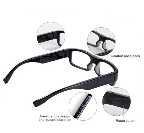 Wearable No Camera Hole Spy Video Eye Glasses - 12MP, 1080P HD - 4