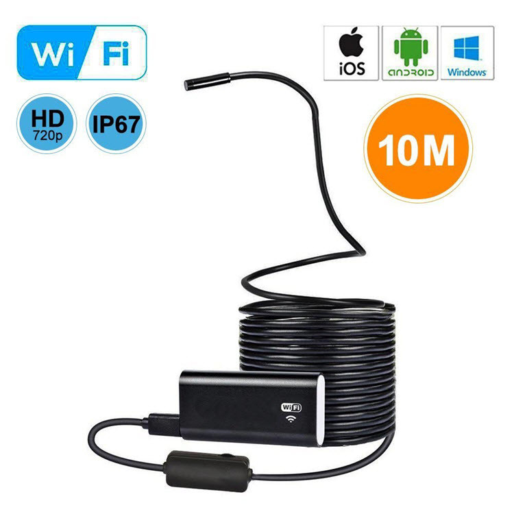 WiFi USB Endoscope, Semi-rigid USB Inspection Camera for Android iOS Tablet - 10M - 1