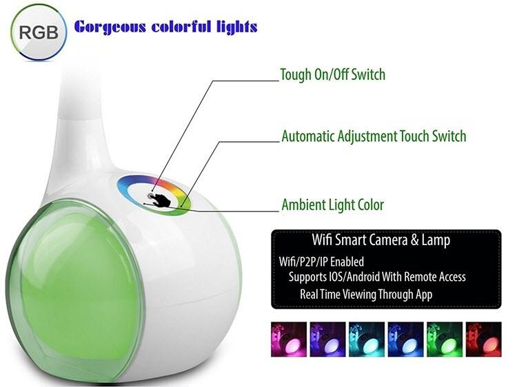 میز کار فای، دوربین لامپ لامپ - نمایش از راه دور - برای نظارت بر کودکان و یا کودک - 3