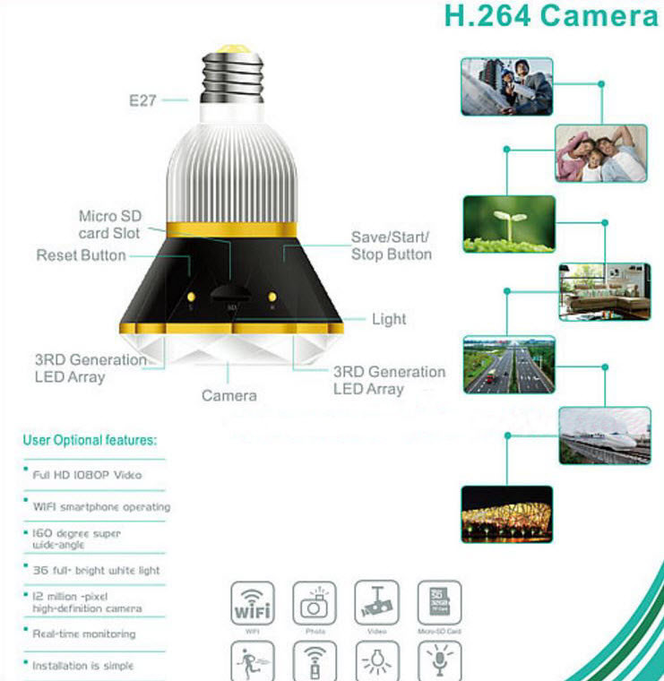 1080P WIFI IP Bulb Camera DVR, 940nm - 0