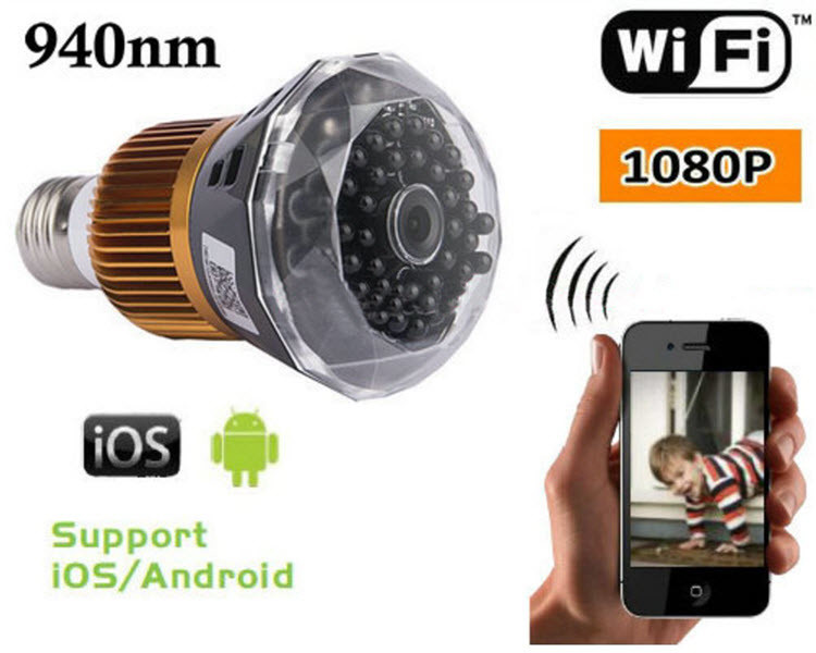 1080P WIFI IP Bulb Camera DVR, 940nm - 1