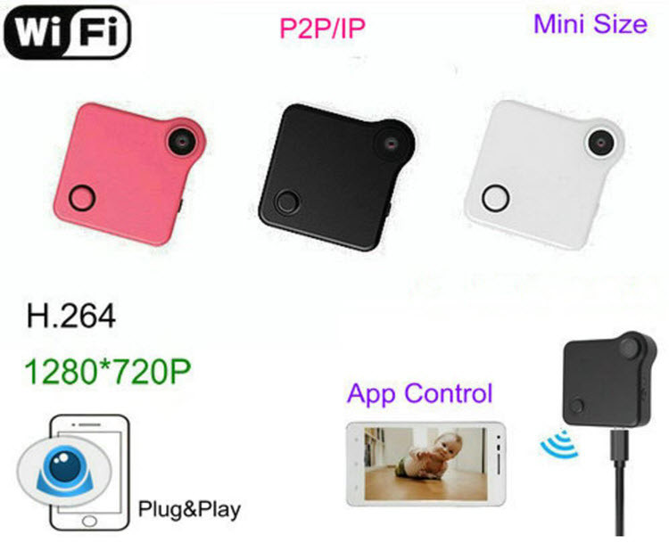 WIFI Mini Wearable კამერა, HD 1280XP, H.720, Motion Detection - 264