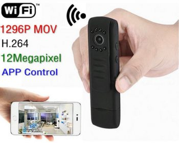 WIFI Inaistrithe Wearable Security 12MP Ceamara, 1296P, H.264, Rialú App - 1