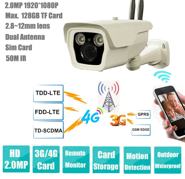 2.0 Mega Pixels 4G / 3G Sim Card IP Waterproof IR Bullet Camera (IP008-4GCam)