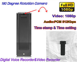 Digital Voice & Video Recorder, Video 1080p, Voice 512kbps, 180 Deg Rotation (SPY106)
