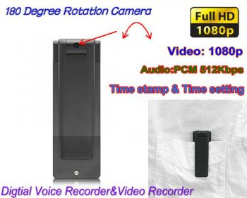 Digital Voice & Video Recorder, Video 1080p, Voice 512kbps, 180 Deg Pag-ikot - 1