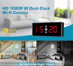 HD 1080P IR Desk Clock Wifi Camera-1