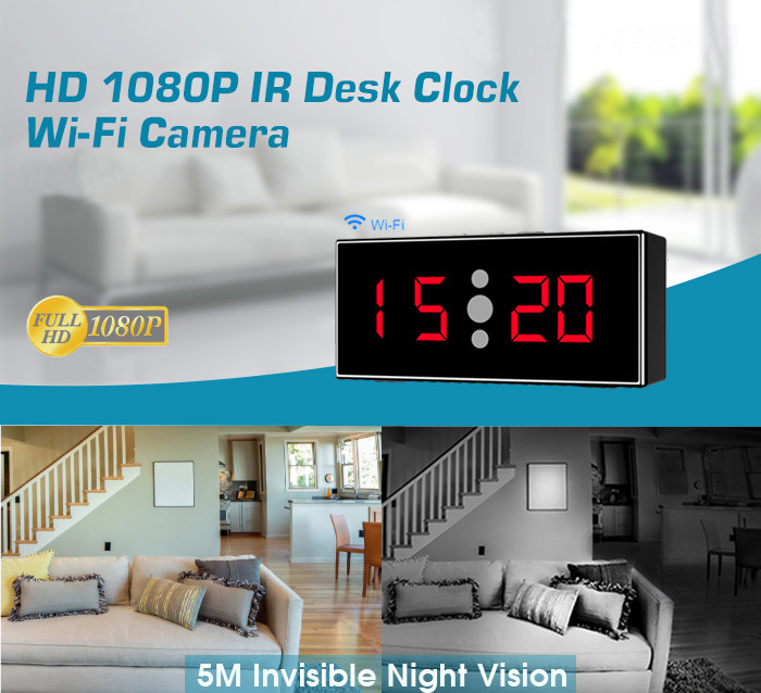 HD 1080P IR Desk Clock Wifi Camera - 1