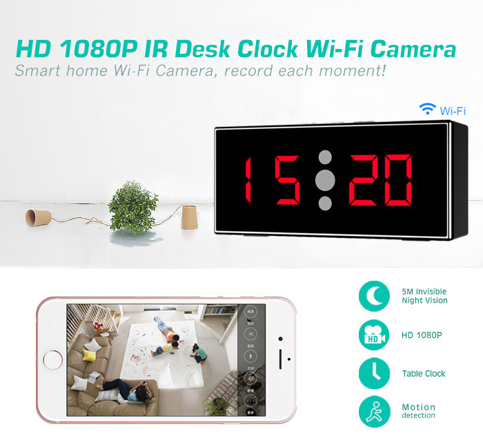 HD 1080P IR Desk Clock Wifi Camera - 2