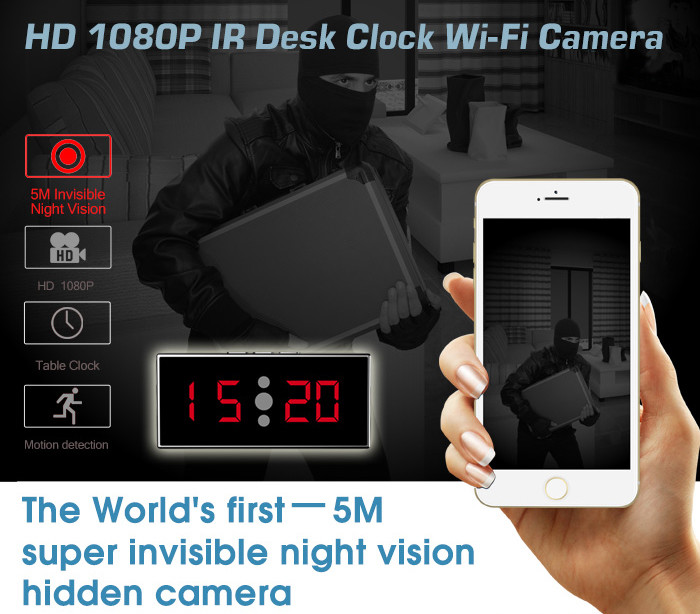 HD 1080P IR Desk Clock Wifi Camera - 3