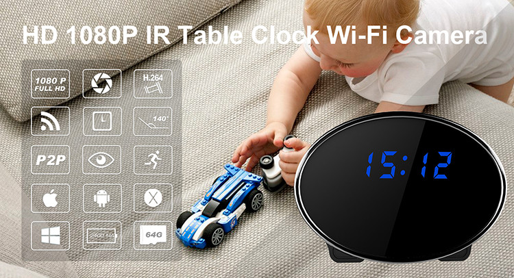 HD 1080P IR Table Clock Wi-Fi Camera - 1