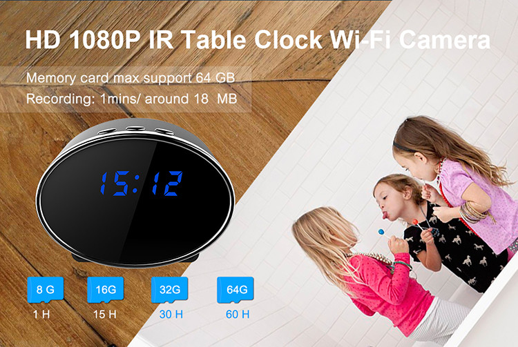 HD 1080P IR Table Clock Wi-Fi Camera - 2