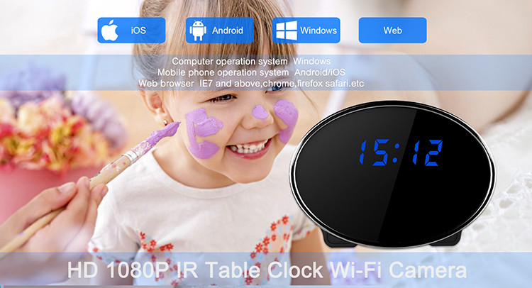HD 1080P IR Table Clock Wi-Fi Camera - 3