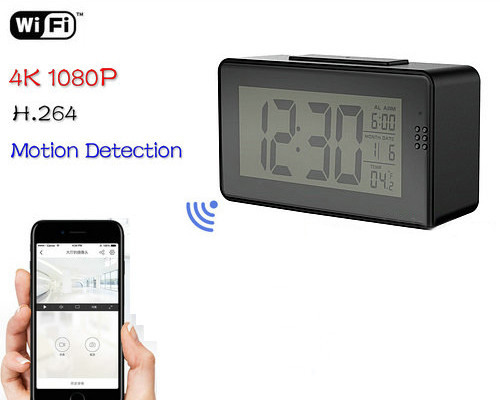 Alarm Clock Camera (Wifi) , Night Vision/Motion Detection (SPY114)
