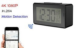 Alarm Clock Camera (Wifi), Night vision, Motion Detection - 1 250px