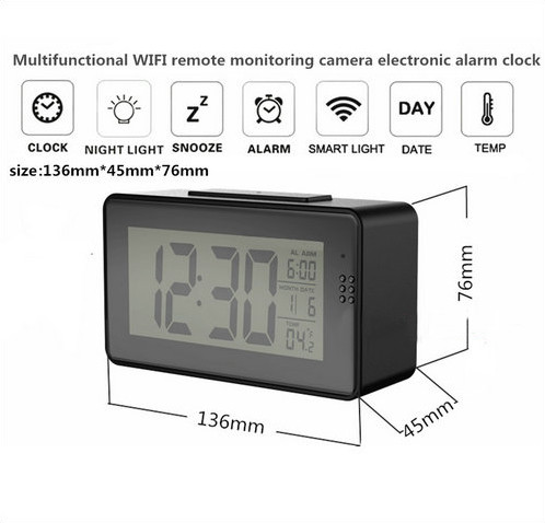 Alarm Clock Camera (Wifi) , Night vision, Motion Detection - 7