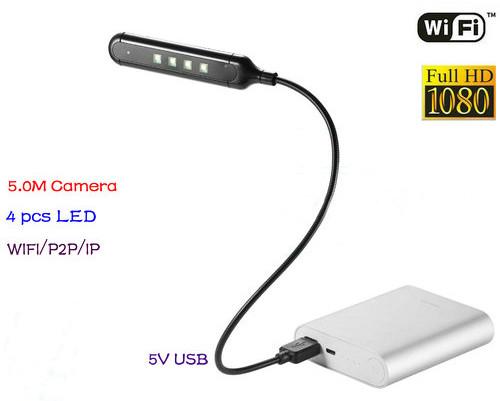 WIFI USB Lamp Camera DVR, 5.0M Camera/1080p (SPY116)