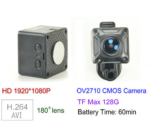180 Degree Mini Camera, HD1080P, 30fps, SD Max 128g, Battery 60min - 1