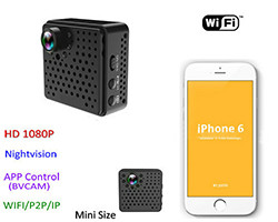 Mini WIFI Kamera DVR, 5.0Mega 160degree Kamupene, Nightvision, SD Max128G (SPY134) - S $ 198