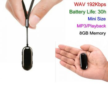 8GB Mini Pendant Voice Recorder, Pagre-record ng 30 Hrs - 1