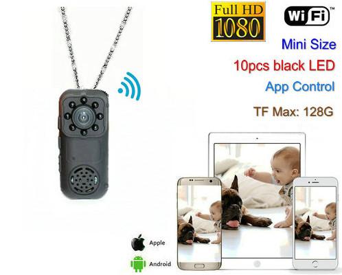 Ceamara Mini Wearable, 1080P, Ceamara 2.0MP, Céim 140 - 1