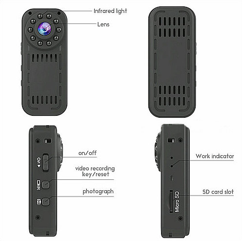 Mini Wearable Camera, 1080P, 2.0MP Camera, 140 Degree - 8
