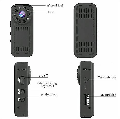 Ceamara Mini Wearable, 1080P, Ceamara 2.0MP, Céim 140 - 8