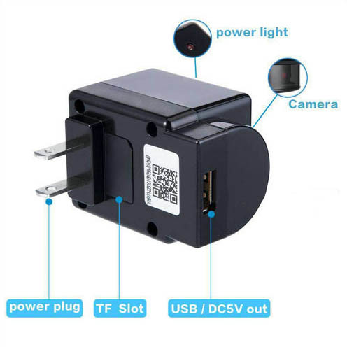WIFI Charger Camera, Camera 180 Degree Rotation, WIFI, P2P, IP, 1080P, H.264 - 4