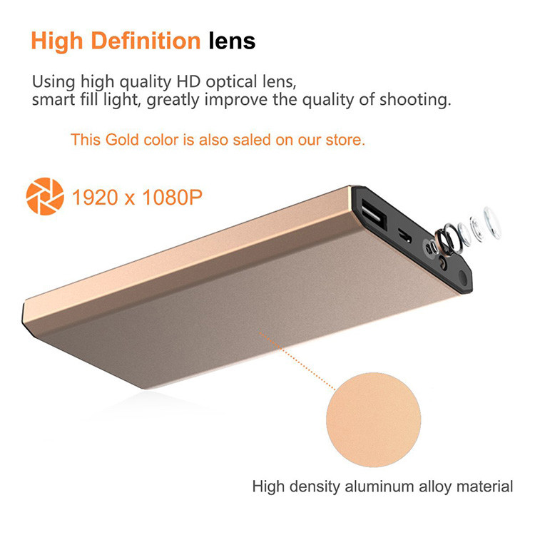 HD 1080P 10000mAh Portable Power Bank Camera, Continuously record for 20Hrs - 10