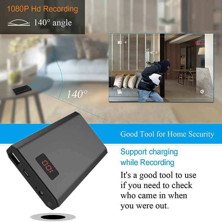 HD 1080P 10000mAh Portable Power Bank Camera, Continuously record for 20Hrs - 3