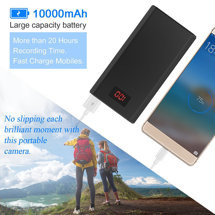 HD 1080P 10000mAh Portable Power Bank Camera, Continuously record for 20Hrs - 5
