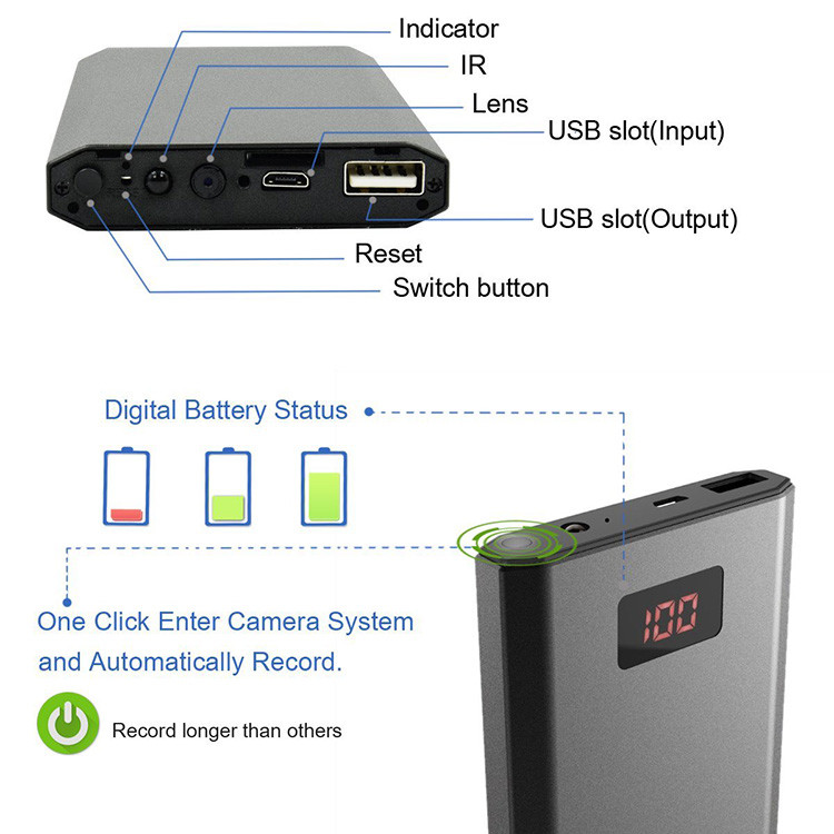 HD 1080P 10000mAh Portable Power Bank Camera, Continuously record for 20Hrs - 6