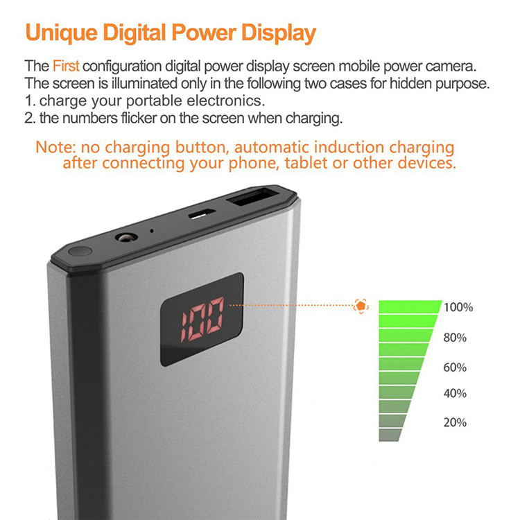 HD 1080P 10000mAh Portable Power Bank Camera, Continuously record for 20Hrs - 9